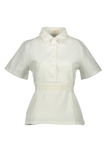 Kashieca white Button Down Short Sleeve Blouse 08E19AA9A6EFA9GS_1