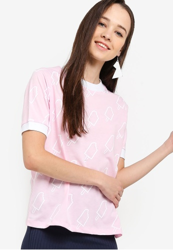 Something Borrowed 粉紅色 滿版印花T恤 017ADAA520923BGS_1