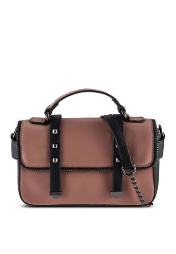 Unisa pink Colour Block Convertible Top Handle Bag 112A8ACB01E495GS_1