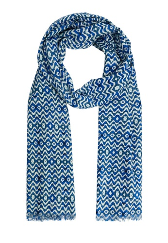 MANGO Man blue Printed Cotton Scarf 1ABE9AC152B0A7GS_1