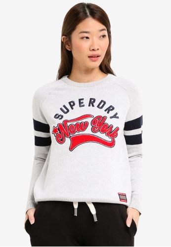Superdry grey Super NY Logo Knit Jumper 1EC38AA27F61C2GS_1