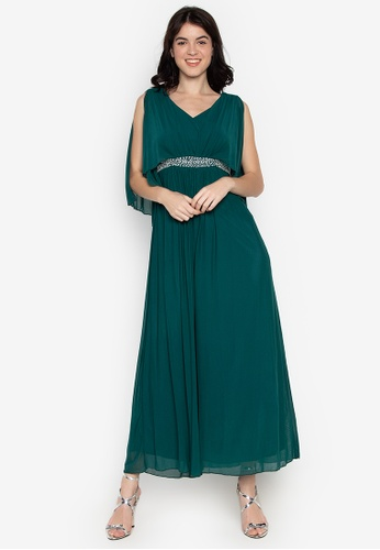 CIGNAL green V-Neck Gown 2266EAAB7542FDGS_1