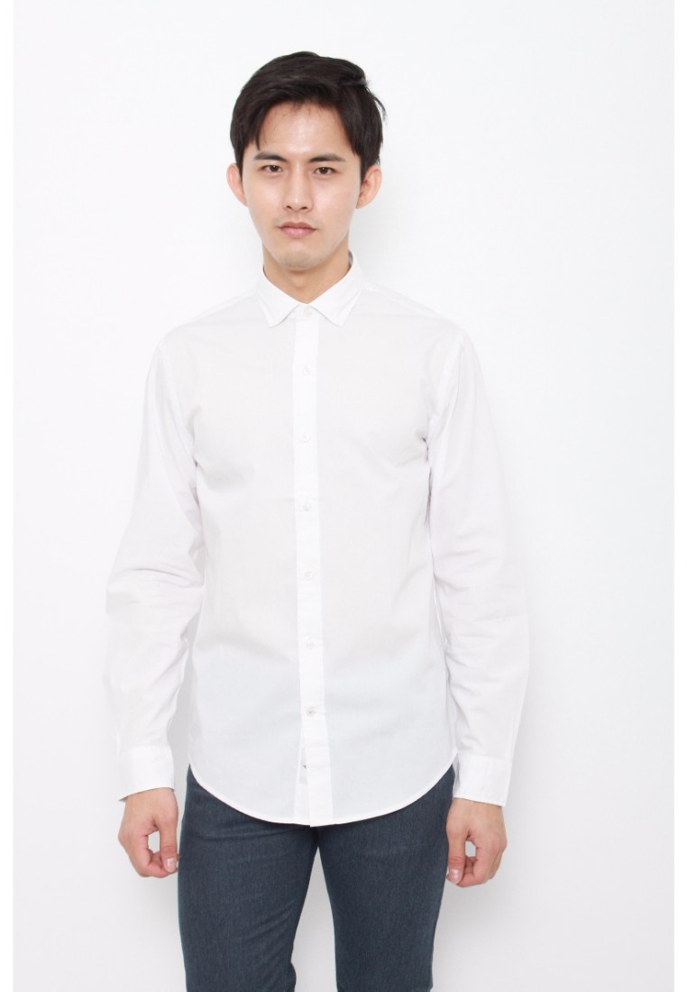 Refined Paper Dockers Sleeve Dockers Fitted White White Long Paper Shirt Poplin pFqxdZ