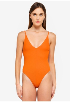 bbfc2c5bbb MISSGUIDED orange Ribbed Strappy Plunge Front Swimsuit 9D0DBUS3713AC2GS 1