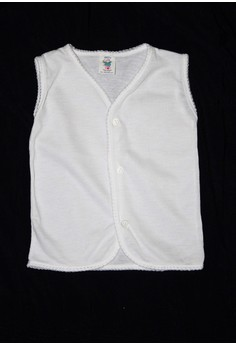 111A Sleeveless White Stitches Unisex ( Set of 6)
