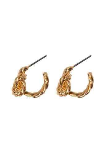SKEDA gold Gold Knot Hoop Earrings D59F7AC1144FC2GS_1
