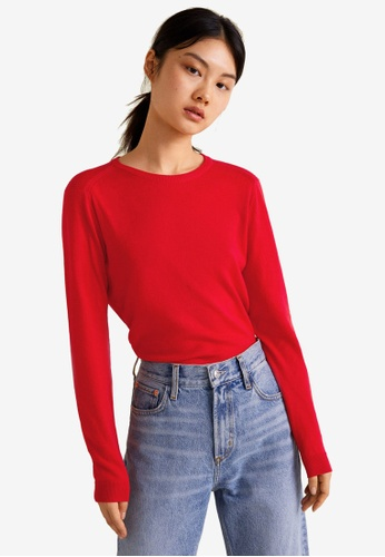 Mango red Fine-Knit Cotton Sweater 63E1EAA2963A9DGS_1