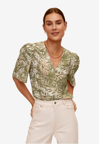 Mango green Tropical Print Blouse 791CDAA160323BGS_1