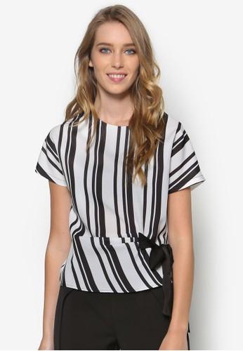 繫帶zalora taiwan 時尚購物網鞋子條紋短袖上衣, 服飾, 上衣