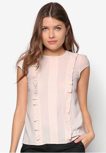 荷zalora時尚購物網的koumi koumi葉飾短袖上衣, 服飾, 服飾