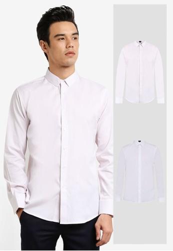 ZALORA white and pink 2 Pack Slim Fit Plain & Stripe Poplin Long Sleeve Shirt ZA819AA0RO0XMY_1