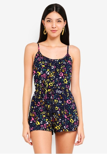 Supre multi and navy Eliza Button Front Playsuit 09800AA13CB6B7GS_1