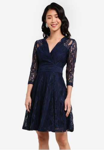 ZALORA blue and navy Wrap Front Lace Dress 8C52BAABDBC161GS_1