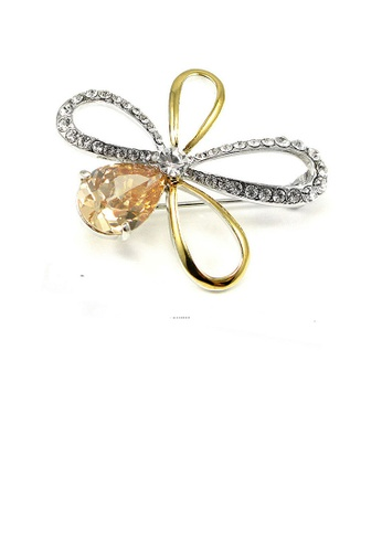 Glamorousky yellow Elegant Flower Brooch with Silver and Yellow Austrian Element Crystal A6AA8AC594E73AGS_1