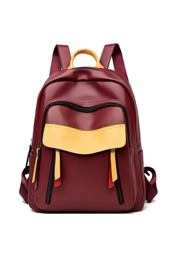 Lara red Women's Capacious Water Repellent PU Leather Zipper Backpack - Wine Red 70D33AC974D761GS_1