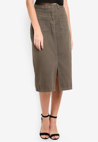 Eyescream grey Pocketed Front Slit Midi Skirt 6A587AA46E2FF0GS_1