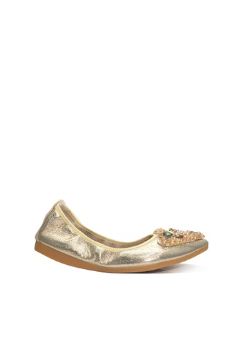 Twenty Eight Shoes 金色 舒適人造鑽石和珠飾閃光豆豆鞋 VL6283 7B7DASH04ED58FGS_1