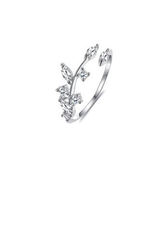 Glamorousky 白色 925純銀簡約時尚樹葉鋯石可調節開口戒指 18954ACBF7AB9FGS_1