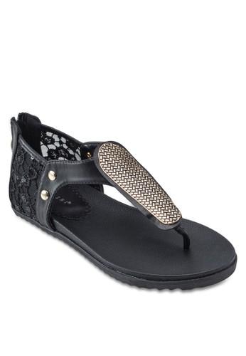 金飾蕾絲包跟涼鞋zalora時尚購物網的koumi koumi, 女鞋, 涼鞋