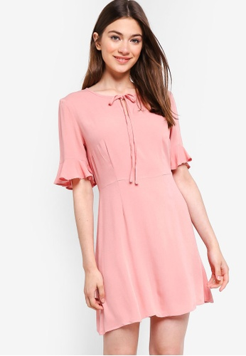 799a8f5372e4a Something Borrowed pink Flutter Sleeves Fit And Flare Dress  64AC2AA04C75ACGS 1