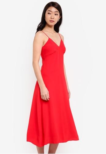 ZALORA red Bustier Cami Fit & Flare Dress 01DEDAA6B7BA04GS_1
