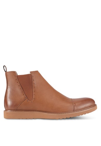 ZALORA brown Faux Leather Perforated Chelsea Boots C9D40SH5800ACAGS_1
