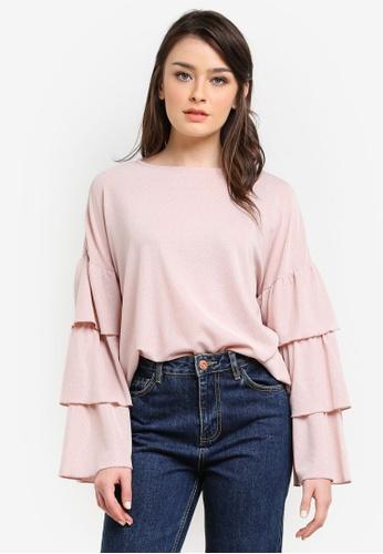 Zalia pink Metallic Tiered Sleeve Top CF1F1AA63E9738GS_1