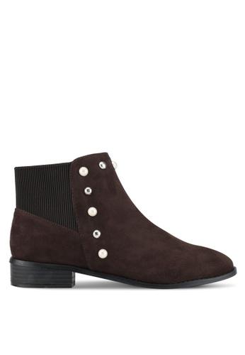 ZALORA 褐色 珍珠飾踝靴 18B25ZZ2363BDBGS_1