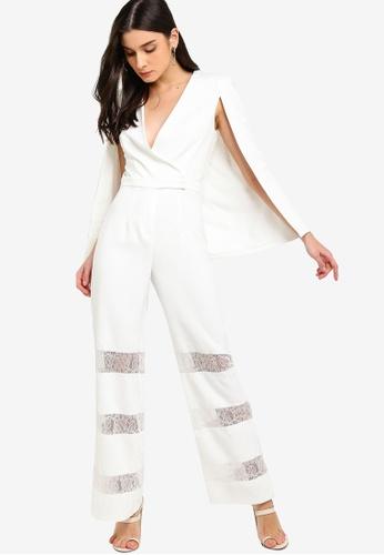 6fd3998b49b Shop Lavish Alice Lace Insert Cape Jumpsuit Online on ZALORA Philippines