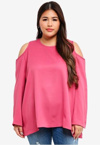 CURVA FABULOUS pink Ms Zairina Cold Shoulder Top 2D4ECAAB858887GS_1