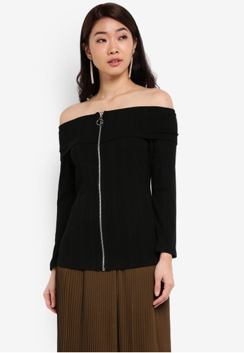 ZALORA black Off Shoulder Knitted Top 85E32AA5D61332GS_1