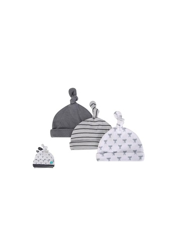 Little Kooma grey Baby Knot Beanie Hat 3 Pc 52314 - 1006 424A2KC065E37DGS_1
