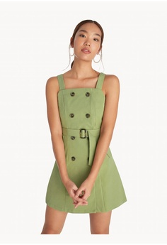 0401b0855 Pomelo green Mini Multi Button Belted Dress - Olive 9F1ADAA70E9A8AGS_1