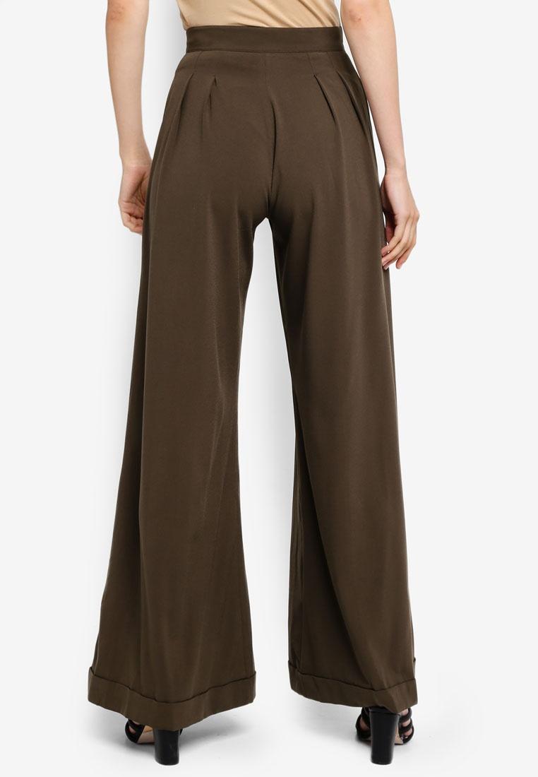 Pants AfiqM Leg Olive Green Wide wXCqExCFB