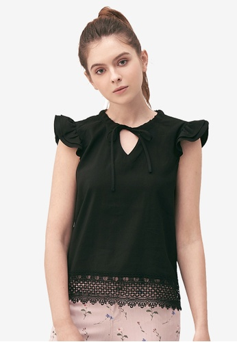 Kodz black Tie Detail Lace Hem Top 814ECAA785E4CAGS_1