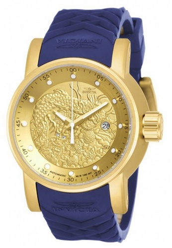 INVICTA blue and gold Invicta S1 Rally Men 48mm Case Blue, Beige Silicone Strap Gold Dial Automatic Watch 18215 IN968AC0F5FISG_1