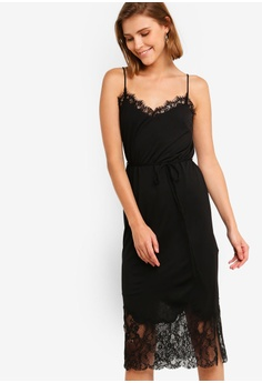 f1c5e823ea5 French Connection black Rosemaria Lace Jersey Dress 255DBAAE1E3243GS 1