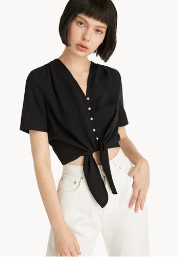 Pomelo black Pearl Button Up Tie Front Top - Black 41DEDAA1663F07GS_1