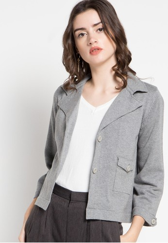 Noir Sur Blanc grey Ladies Cardigan Long Sleeve NO321AA58STDID_1