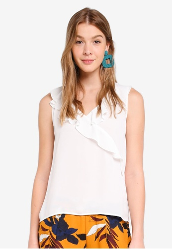 ONLY white Intu Frill Top CF6D8AA0649660GS_1