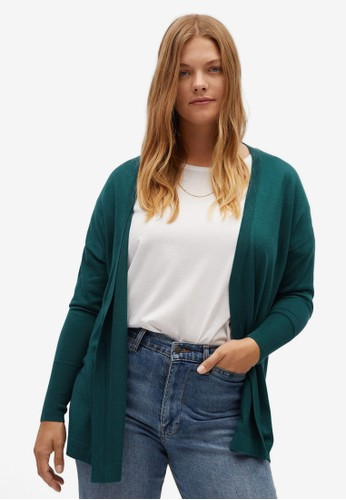 Violeta by MANGO green Plus Size Fine-Knit Cardigan 6A324AA60B66C2GS_1