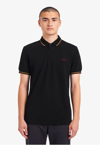 Fred Perry black M3600 - Twin Tipped Fred Perry Shirt - (Blk/1964Gld/Aubg) CCB60AA1681C96GS_1