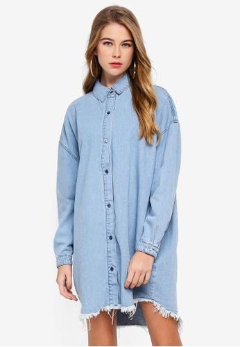 MISSGUIDED blue Oversized Denim Shirt Dress C45A4AA989E9FEGS_1