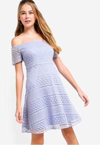 Something Borrowed blue Lace Off Shoulder Mini Dress 14143AAAB0E505GS_1