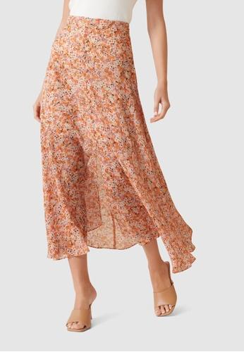 Forever New orange Bronte Button Front Midi Skirt FDFD9AA65E57E1GS_1