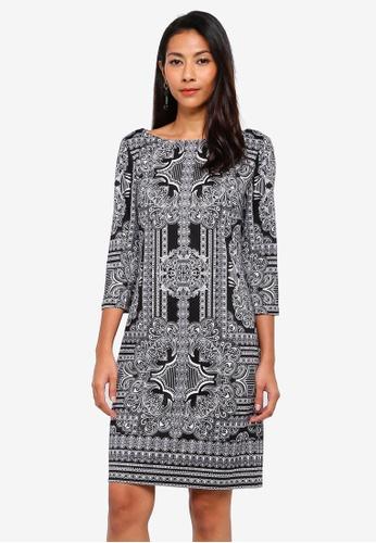 Wallis black Monochrome Paisley Print Shift Dress A409FAA29ED9D0GS 1 9bf943f11