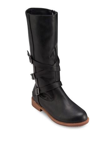 三扣環高筒靴zalora 台灣門市, 女鞋, 鞋