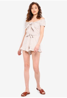 e95ccaa3f7517 10% OFF TOPSHOP Gingham Bardot Playsuit RM 189.00 NOW RM 169.90 Sizes 6 8  10 12 14