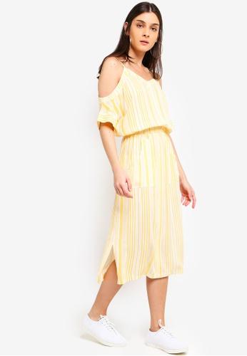 ZALORA yellow and multi Cold Shoulder Midi Dress BFF85AA99EADB5GS_1