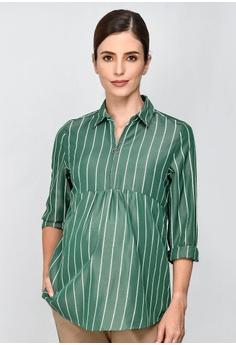f375749320 9months Maternity green Green Zip Front Nursing Shirt B3B9CAAE68D6B6GS 1